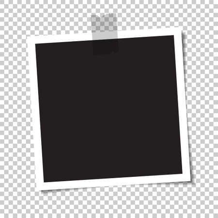 Empty photo with a shadow is glued with tape. Vector illustration. Vetores