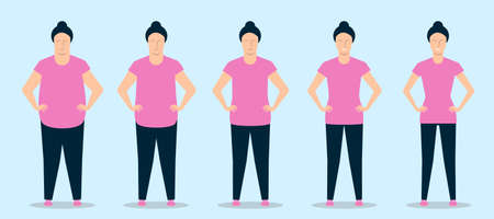Young woman losing weight while doing fitness. Stages of body change. Vector illustration