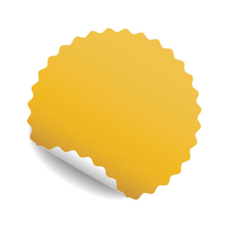 Round yellow sticker with curled corner and shadow. Vector illustration