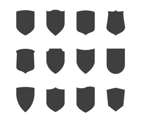 Shield icons set. Protection vector symbol. Black on white background.