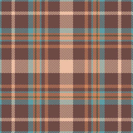 Pixel background vector design. Modern seamless pattern plaid. Square texture fabric. Tartan scottish textile. Beauty color madras ornament. Vector Illustratie