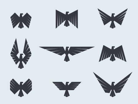 Set eagles and hawks. Eagle logo vector template.