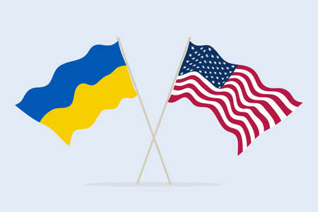 Flag of USA and Ukraine together. A symbol of friendship and cooperation of states. Vector illustration.