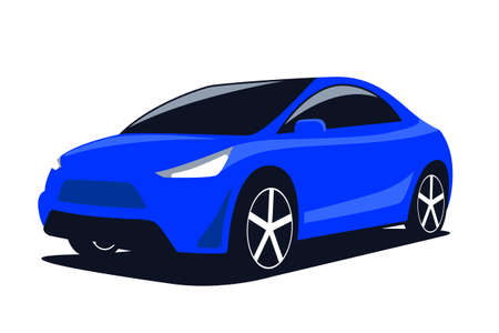 Blue car modern SUV isolated on a white background. Vector illustration.