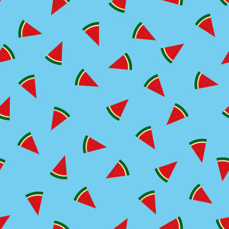 Sweet watermelon slices seamless pattern. Vector vacation background for printing onto fabric or paper.