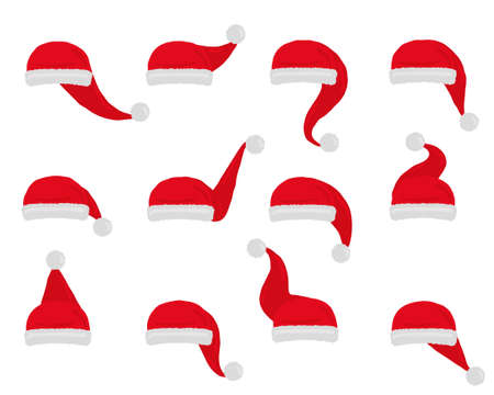 Santa hat vector. Set christmas red hats isolated on white.