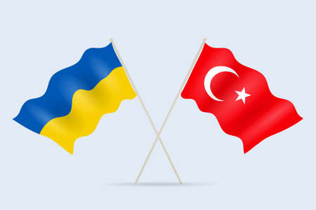Flag of Ukraine and Turkey together. A symbol of friendship and cooperation of states. Vector illustration.