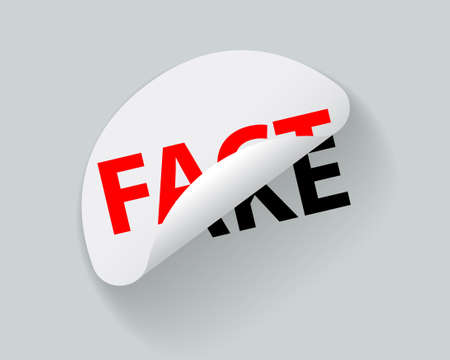 Fact and Fake, creative sticker label vector. Slogan design.
