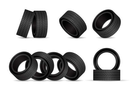 Realistic tire fitting vector design. Black rubber wheels tires for car service station.