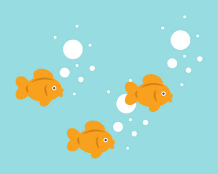 Sweet little goldfish are swimming. Cute fish vector illustration for babies.