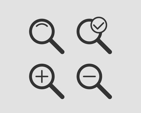 Zoom icon vector. Set of zooming icons.