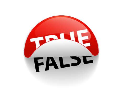 True and False, creative sticker label vector. Slogan design.