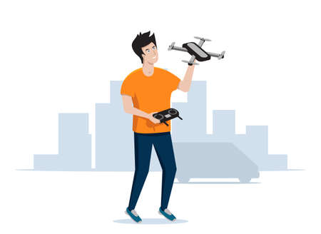 Cheerful guy launches a quadrocopter or drone. Vector illustration. Vecteurs