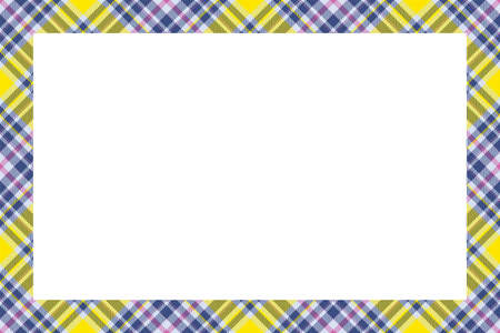 Vintage frame vector. Scottish border pattern retro style. Beauty empty background, template for photo, portrait, album. Tartan plaid ornament. Ilustración de vector