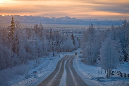 solstice: Winter Solstice in Fairbanks Alaska, at noon; view from above Mushers Hall looking south