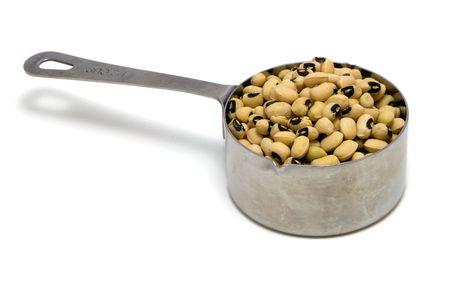 Blackeye Peas in stainless steel measuring cup, 12 c.