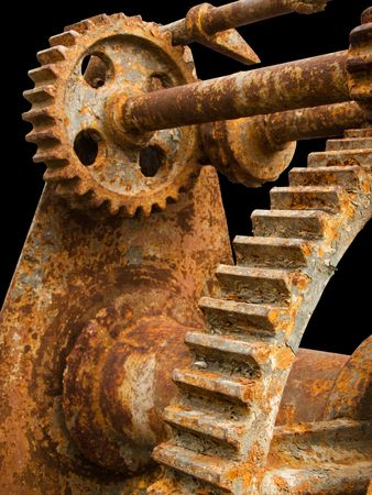 unnecessary: old gear covered with rust Stock Photo