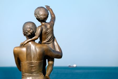 parting the sea: Sculpture of a  seeing off the ship