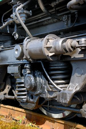 corrode: Wheel of the old mechanism of the railway diesel tractor Stock Photo