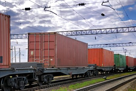 old container: The train transports containers Stock Photo