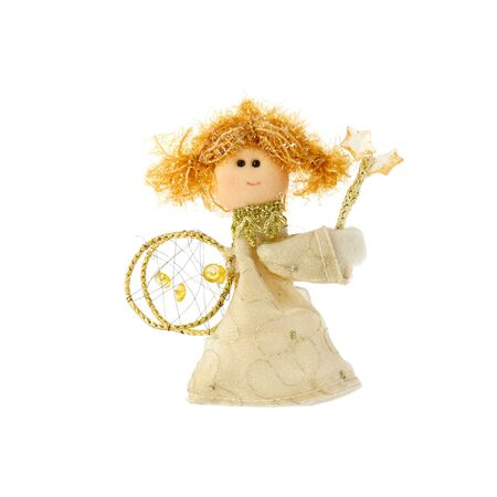 cutie: Christmas doll an angel made of a fabric and a wool