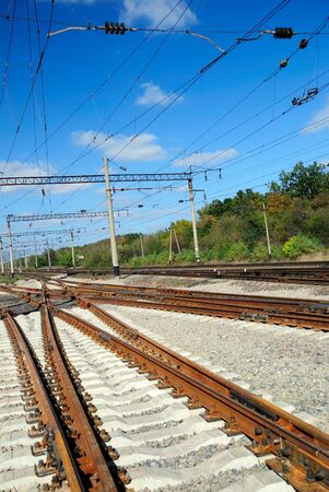 conjunction: View of the railway conjunction with electric lines