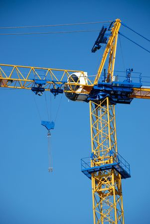 The silhouette of new blue construction crane Stock Photo - 3898583