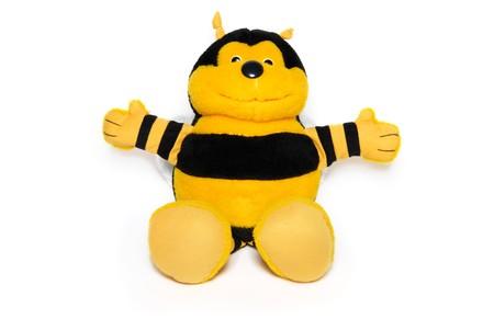 likeable: The joyful plush bee on white Stock Photo