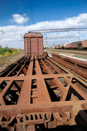 wood railroads: Carcass of obsolete historic railway carriage