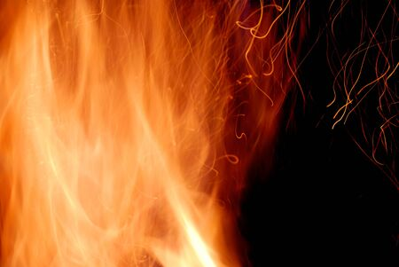 incandescence: Close-up of fire and flames on a black background Stock Photo