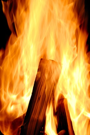 incandescence: Closeup of the wood burns on fire