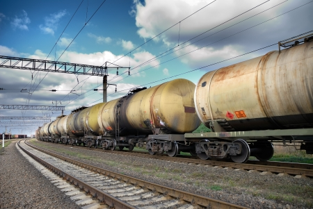 goods train: Set of tanks with oil and fuel transport by rail