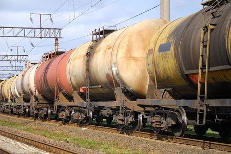 The train transports oil in tanks . Stock Photo