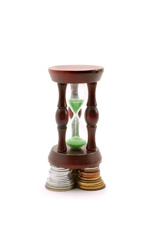 Concept image of sand watch and money photo