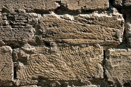 Closeup of old destroyed stone wall surface Stock Photo - 5038035