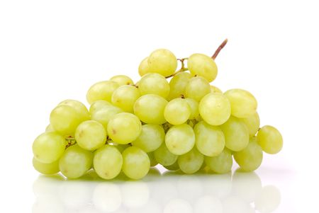 One whole cluster of green grapes on white Stock Photo