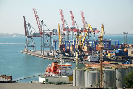 travel industry: Port warehouse with containers and industrial cargoes Stock Photo