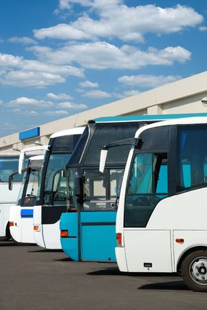 charter: Tourist buses on a parking expect passengers