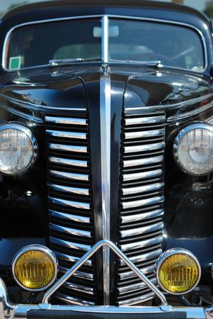 The front of black vintage car cabriolet photo