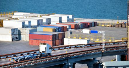 Port warehouse with containers and industrial cargoes Stock Photo - 5537692