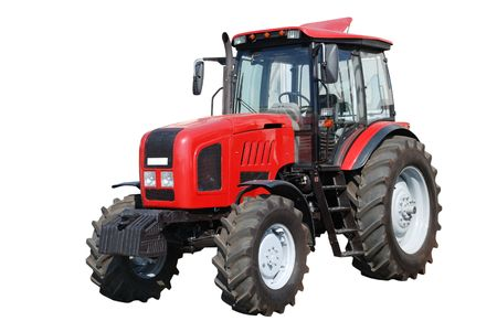 New red tractor isolated on white background photo