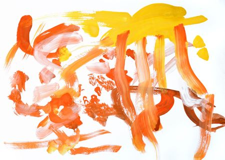 Children's drawing water color paints on a paper Stock Photo - 5772403