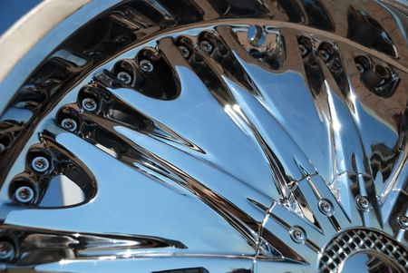 Closeup the chromeplated rim of a wheel Stock Photo - 5793654