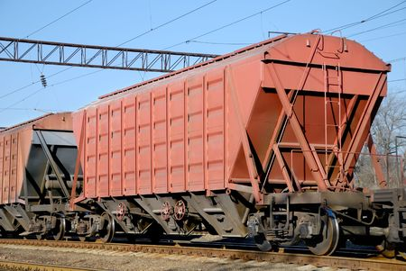 goods train: The train transportation of cargoes by rail