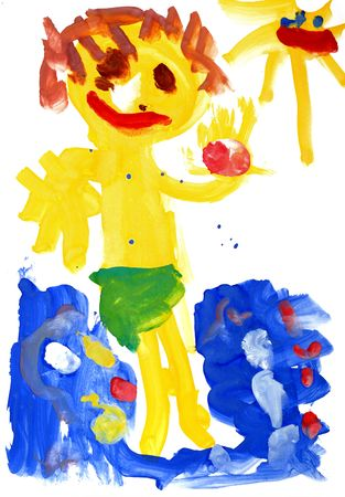 Children's drawing water color paints on a paper Stock Photo - 6042373
