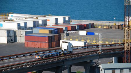 Port warehouse with containers and industrial cargoes Stock Photo - 6042393
