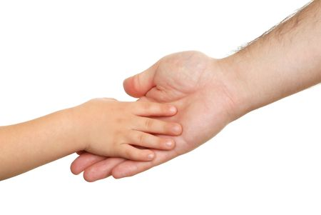 Hand shake of the child and father isolated Stock Photo - 6065985