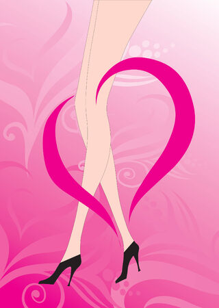 human leg: Illustration of female legs with heart and shapes around