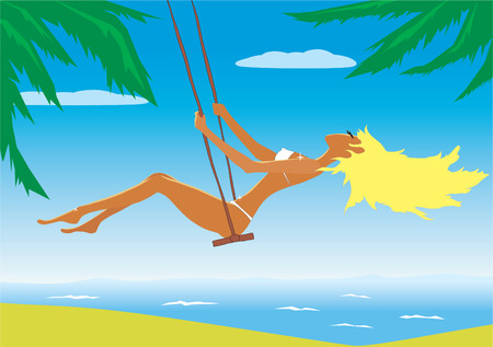 Illustration of the beach girl on a swing Vector