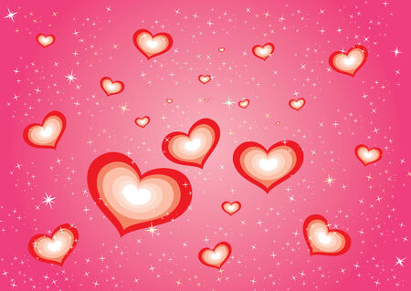 Vector red hearts background with stars
